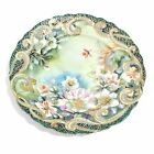 Vintage Antique Fine Porcelain Plate Gold Dots Gilt Hand Painted Flowers Nippon