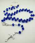 Free Rosary Faith INRI Navy blue Crystal Beaded cross Pendants Clasp Necklaces