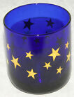 LIBBEY - Cobalt Blue & GOLD STARS - Small Short GLASS - VINTAGE!