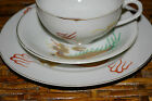 WHITE THREE PC SET DRAGON CUP, SAUCER AND DESSERT PLATE CUP W/GEISHA LITHOPHANE