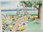 CAROL LINSCOTT GIRL & FLOWERS WITH SAIL BOAT AT SEA ORIGINAL WATERCOLOR PAINTING
