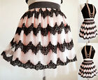NEW Pale Pink Black Vtg Scallope Lace Chevron Tiered CUTE Mesh Tulle Mini Skirt