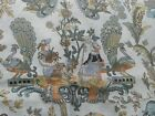 1+ yd Lovely vintage COHAMA RIVERDALE fabric White w/ grey gold FRENCH COUNTRY