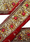 VINTAGE SARI BORDER ANTIQUE BEADED 1YD INDIAN TRIM METALLIC GOLD RIBBON LACE