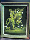 VINTAGE FRAMED VELVET PAINTING BULL AND BULL FIGHTER