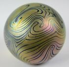 Vtg Eickholt Studio Hand Blown Art Glass Iridescent Pulled Feather Paperweight