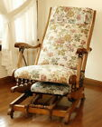 Antique Oak Platform Rocking Chair Tapestry Fabric with Fold Out Footstool