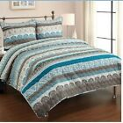 QUEEN SIZE 3PC TEAL BLUE BROWN WHITE BOHEMIAN QUILT SHAMS BEDDING PATTERN new