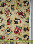CHANTICLEER RED ROOSTERS DIANE KNOTT YELLOW TOSSED CLOTHWORKS COTTON FABRIC YD