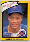 1990  DARRYL STRAWBERRY - Kenner Starting Lineup Card - NEW YORK METS - (Yellow)
