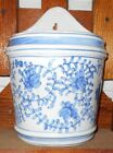 Vintage MARKED Chinese Porcelain Blue and White Wall Pocket LOTUS or IRIS design