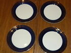 Taylor Smith & Taylor Cobalt Blue Rim Gold Leaf Small Plates Set of 4