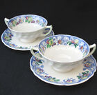 ROYAL DOULTON POMEROY BLUE MULTICOLOR FOOTED CREAM SOUP BOWL SAUCER D5472 two