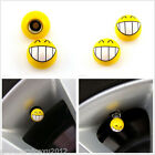 2 X Yellow Smile Teeth Face Expression Motorbike Air Valve Stem Caps Dust Covers