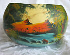 BEAUTIFUL OLD SCENIC HAND MADE MEXICAN MEXICO PAINTED FOLK ART POTTERY PLANTER