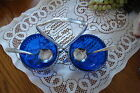 Beautiful Cobalt Blue Serving Dishes in Footed Tray w/Spoons - Made in England