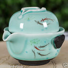 150ml pot 75ml cup celadon tea set in chinese handpainted fish ceramic tea set