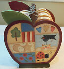 APPLE FOLK COUNTRY DESIGN CORK COASTERS & HOLDER BLACKBIRD LADYBUG TREE HEARTS