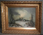 Antique Victorian Hudson River Valley Painting Gilt Picture Frame Folk Art Farm