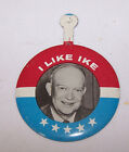 Vintage I LIKE IKE Tab Pin Button Vote for SEAGRAM'S 7 Whiskey
