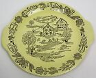 1950's ROYAL CHINA SEBRING OHIO BUCKS COUNTY FARM SCENE on YELLOW SMALL PLATTER