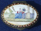Antique 1790 Battersea Enamel Snuff, Patch Box With Mirror - Goddess on Throne