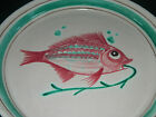 Vintage Italian Pottery Musa Roma Shallow Bowl Round Platter Handpainted Fish