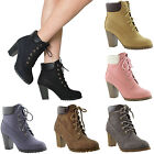 Womens Ankle Boots Lace Up Booties Chunky Stacked High Heel Rugged Padded Shoes