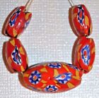 Antique Red  Yellow Venetian Oval Shaped Millefiori Glass Beads African Trade