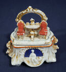 Vtg Antique 19th Century Staffordshire Fairing Trinket Box Fancy Dining For Two
