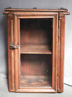 Antique Pine Medicine cabinet Tramp Art Folk Display Applied Molding Glass front