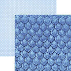 Paper House SAPPHIRE SCALES 12x12 Dbl Sided 2PCS Printed Cardstock