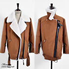Womens faux leather shearling fur jacket oversize fit loose warm suede Brown S M