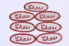 Vintage Oval Fabric Name Uniform Patches 'Chas.' Lot of 7 Gas Station Mechanic