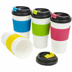 Insulated Double Wall Non Spill Travel Mug With Lid Easy Grip Coffee Tea Hot Cup