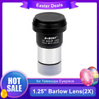 125 2X Barlow Lens Metal Fully Coated Camera Interface for Telescopes US Ship