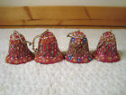 Vintage Red Resin Christmas Bells Ornaments Beads Mirror 2 Lot 4 Composite