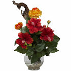 NEARLY NATURAL Hibiscus & Ranunculus w/Fluted Bowl Silk Flower Arrangement -1287
