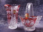 Anna Hutte Bleikristall German Ruby Cranberry Red set 24% Lead Crystal