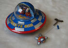 kiTki windup tin plate toy UFO spaceship satellite antique vintage astronaut air