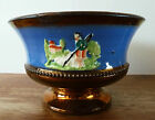 Victorian Copper Luster Bowl with Blue Border & 3 Shepherd Scenes in Relief