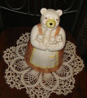VTG MOMMY BEAR HUGGING LIL BABY CUBS COOKIE BISCUIT SNACK TREAT CANISTER BIG JAR