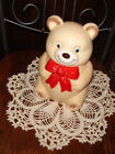 VTG UNUSED ESTATE RED BOW BABY BEAR COOKIE BISCUIT SNACK TREAT CANISTER BIG JAR