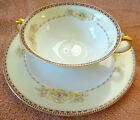 Vintage CREAM SOUP Cup/Bowl Saucer  Meito China Hand Painted Japan