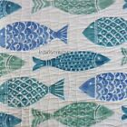 MAX STUDIO Fish Beach 3PC KING QUILT SET 100% cotton BLUE GREEN TEAL IVORY NEW