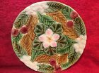 BEAUTIFUL VINTAGE FRENCH MAJOLICA CHERRY Cherries, Leaves, Flowers PLATE, fm469
