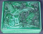 Ingrid / Hoffmann Lg RARE Czech Art Deco Malachite Opaque BIZARRE Opaque Box