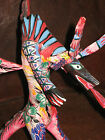 Oaxaca Hand Carved Wood Fiery Dragon w/ Wings Artist Signed Mexican Folk Art