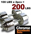 A Pair 200 lbs 100 lbs x2pcs Chrome Plated Adjustable Dumbbells Weight Set