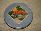 Art deco hand painted Noritake trivet tea pot plate church water green tree dusk